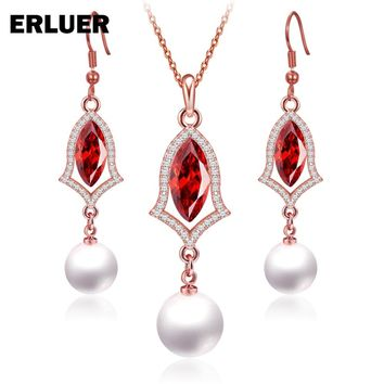 8 Color Jewelry Sets For Women Rose Gold color fashion wedding crystal Simulated-pearls Charm Penant necklace Drop earrings set