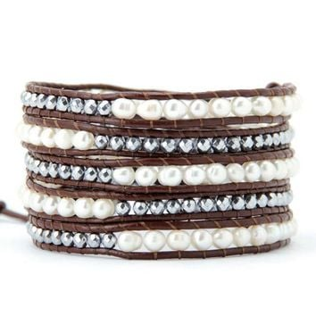 Freshwater Pearl Silver Color Beads Leather Wrap Bracelet