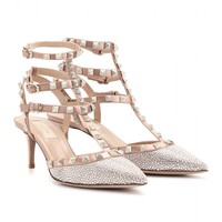 mytheresa.com -  Rockstud Bal crystal-embellished satin pumps  - Luxury Fashion for Women / Designer clothing, shoes, bags