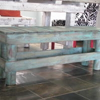 FREE SHIPPING---Turquoise Distressed Rustic Bench