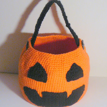 Jack-O-Lantern Trick or Treat Basket PDF Crochet Pattern INSTANT DOWNLOAD