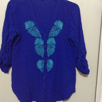 CUPIO indigo Blue thin cardigan BoHo Hippie Knit Top 3/4 Sleeve Buttons leaves S