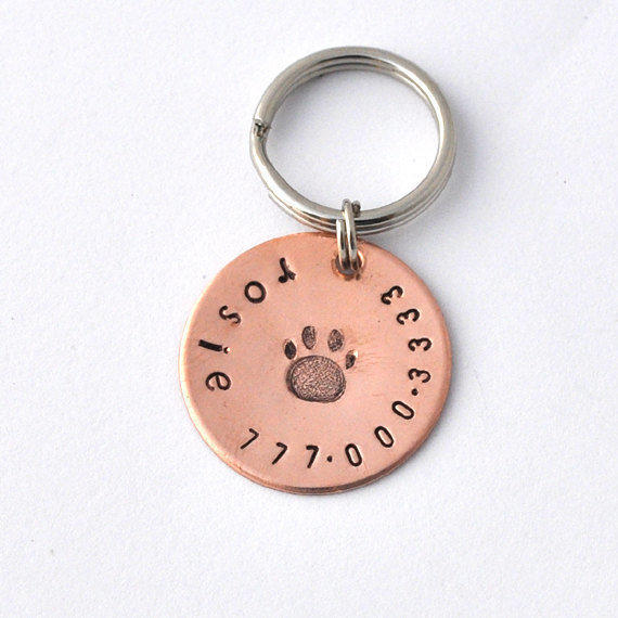 Small pet id tags copper with paw print, small dogs, small cats, x-small pets