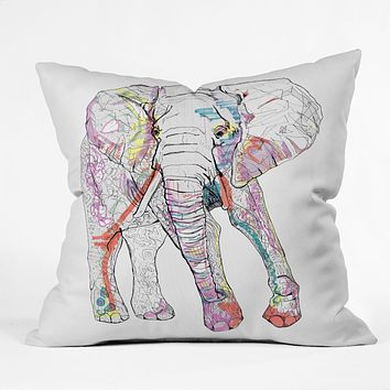 Casey Rogers Elephant 1 Throw Pillow