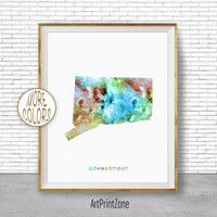 Connecticut State Connecticut Decor Connecticut Print Connecticut Map Art Print Map Artwork Map Print Map Poster ArtPrintZone