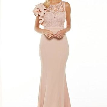 Avery One Shoulder Lace Evening Event Prom Dress