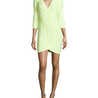 Herve Leger Neon V-Neck Bandage Dress
