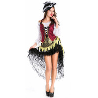 Gothic victorian dress pirate costume female halloween costumes disfraces adultos haloween medieval disfraces halloween witch