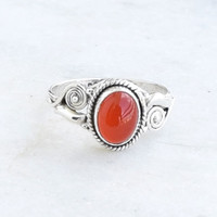 Carnelian Stone Ring Sterling Silver Ring Silver Stacking Ring Gemstone Ring Stone Ring Size US 5 6 7 8 9 10 11 12