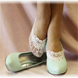 Lace socks, ENCHANTING LACE, white, wedding, peep,  heels, no show, bridal | FTL4