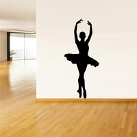 Wall  Decal Vinyl Sticker  Decor Art Bedroom Design Mural Nursery Ballet Gymnastic Ballerina Dancer Silhouette (z2513)