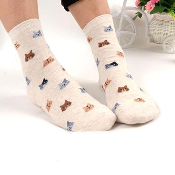 Kawaii Cartoon Cat Socks - Colorful Cotton Socks
