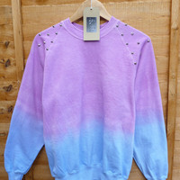 Pink and Blue Dip Tie Dye Studded Sweat Shirt Summmer Pastels Fashion Jumper Spike Shoulders Oversize Vintage