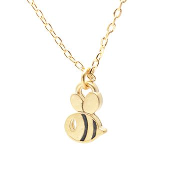 Matte Finish Flying Bumble Bee Necklace