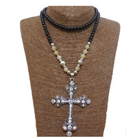 White Beaded Cross Necklace