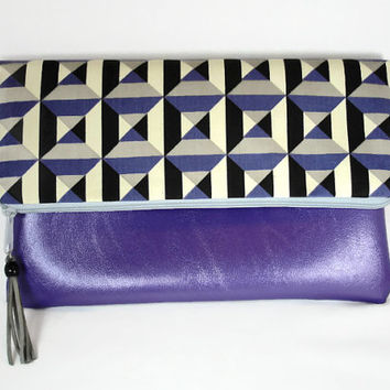 Purple Vegan Leather Fold Over Clutch With Checkered Fabric/ Flap Over Purple Clutch/ Metallic Purple Clutch/ Summer Clutch