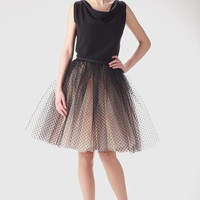 Adult champagne tutu skirt with black dots wedding von Fanfaronada