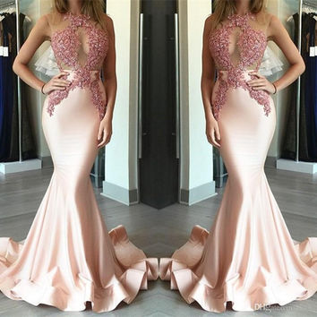 Sexy See Through Mermaid Prom Dresses 2017 Lace Appliques Mermaid Evening Gowns Court Train Ruffles Formal Party Dress Hot Sale
