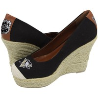 Cuce Shoes Pittsburgh Penguins Ladies The Groupie Espadrille Wedge Sandals - Black