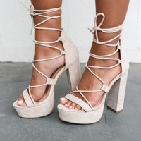Strike Three Lace Up Nude Platform Heel