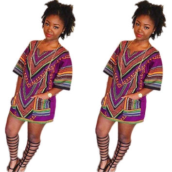 Ethnic Vintage Dashiki Shirts with Pockets