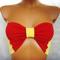 Sport Underwear Bandeau Yoga Summer Bra Tube Strapless Top In Bright Sunny Plain Yellow and Red Bow Ribbon By Cvetinka