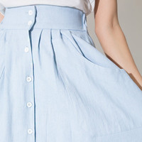 Elastic Waist Single Pocket Pleated Mid Skirt