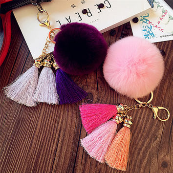 Soft Flush Fur Pom Pom Keychain Faux Rex Rabbit Fur Ball Key Chains Pompon Keyring Tassel Key Holder Car Ornaments Bag Pendant