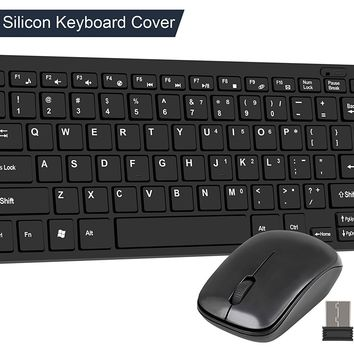Wireless USB Keyboard and Mouse Combo CHONCHOW 2.4G Portable Slient Urtal Slim Design Durable Quality for Mac Windows Tablet Laptop Smart TV(Mini)