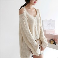 Strapless loose sweater JCIB