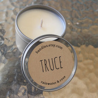 Rainwater/Rose Truce Scented Soy Wax 6oz Travel Tin Candle