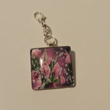 Pink and Purple Rose Cabochon  Zipper pull Purse Pull Hoodie Pull   V4620
