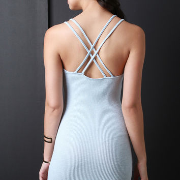 Double Crisscross Straps Ribbed Dress