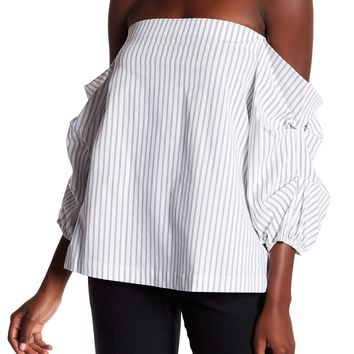 1.State | Off-the-Shoulder Gathered Sleeve Stripe Blouse | Nordstrom Rack