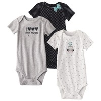 JUST ONE YOU® Made by Carters Infant Girls' 3 Pack Bodysuit - Light Blue/Black