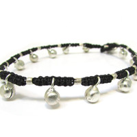 Black Macrame Gypsy Anklet with Bells, Handknotted Fiber Jewelry, Ankle Bracelet Footwear Accessories