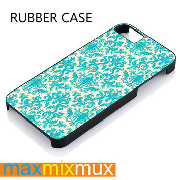 Turquoise And Cream Damask iPhone 4/4S, 5/5S, 5C, 6/6 Plus Series Rubber Case
