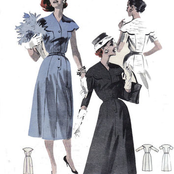 Dress with Scalloped Collar 1950s Vintage Sewing Pattern Butterick 8051 Size 14 Bust 34