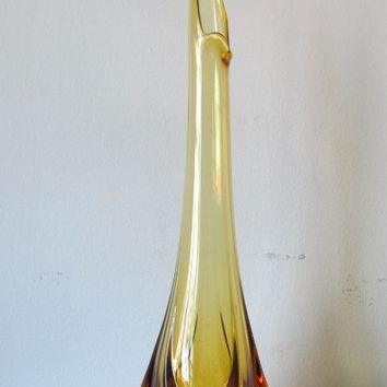 mcm Viking Art Glass Hand Blown Swung Amber Vase
