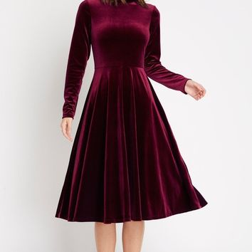 Official Velvet Fit and Flare Midi Dress