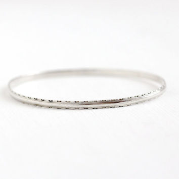 Vintage Sterling Silver Art Deco Sleek Bangle Bracelet - 1930s Thin Stacking Spacer Milgrain Line Geometric Eternity Classic Jewelry