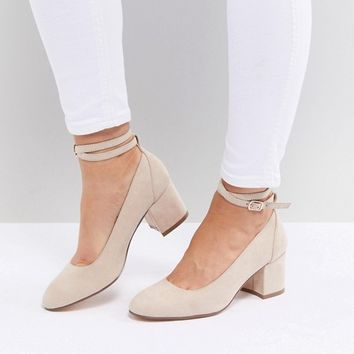 London Rebel Wide Fit Mid Block Heeled Shoes at asos.com