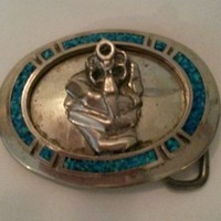Vintage Belt Buckle Hand Holding Gun with Turquoise  Marked W