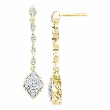 10kt Yellow Gold Women's Round Diamond Cluster Dangle Drop Earrings 1-4 Cttw - FREE Shipping (US/CAN)