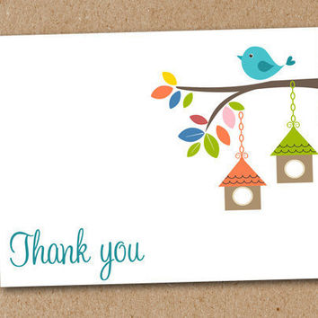 Thank You Cards Note Cards Bird Birdhouse by Luv2ScrapForU on Etsy