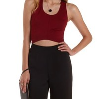 Red Lace Racerback Asymmetrical Crop Top by Charlotte Russe