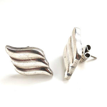 Vintage TAXCO Mexico Earrings,925 Sterling Silver Pierced Earrings,Mexican Silver Jewelry,Minimalist Wave Earring,Artisan Jewelry