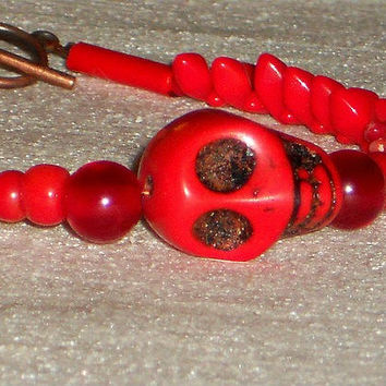 Skull Bracelet, Red Skull Bracelet, Red Howlite Skull, Red Coral, Vintage Glass Beaded Bracelet, Red Bracelet, Unique, ELEMENTS Collection