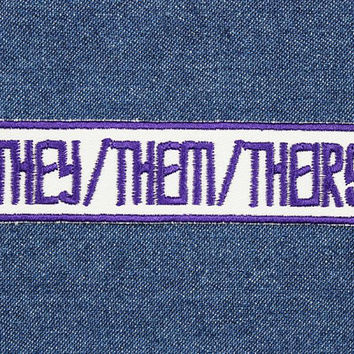 "They Them Patch – 4"" x 1"" Agender Pronoun Patches – Gender Neutral Pronouns Patch – Trans Patch – Transgender Pride Patch – Nonbinary Patch"