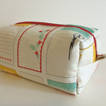 Boxy Cosmetic Bag, Toiletry Bag and Makeup Bag in Vintage Sewing Labels